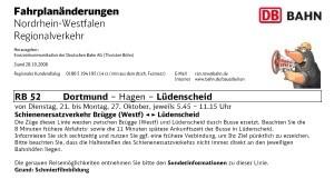Fahrplanänderungsankündigung der DB